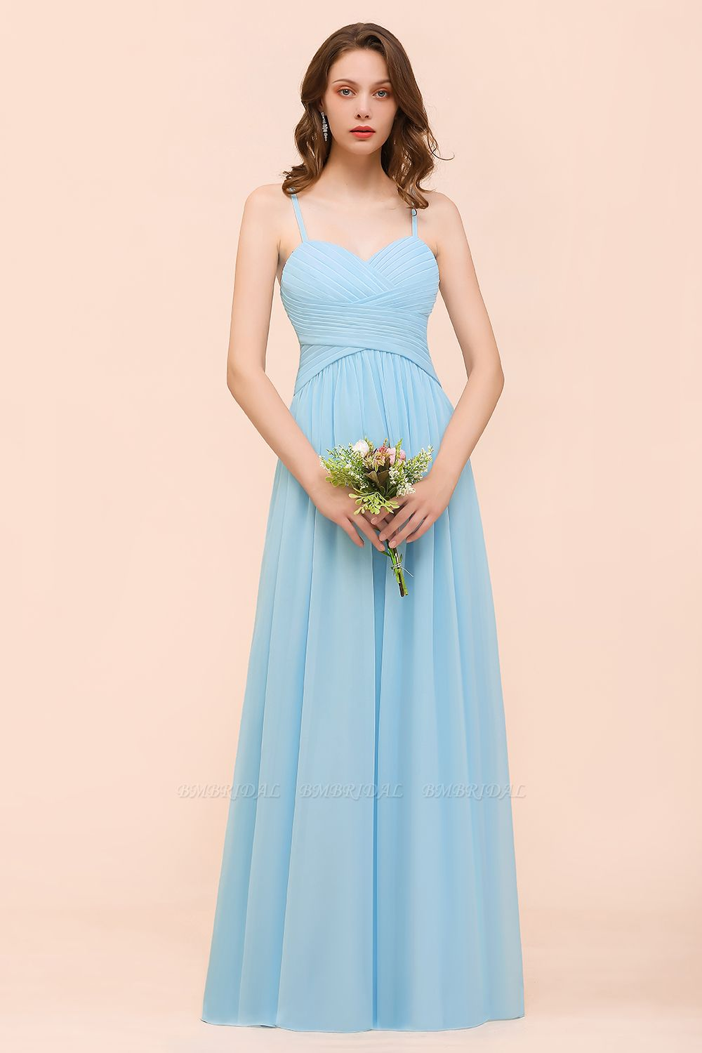 Chic Spaghetti Straps Ruffle Sky Blue Chiffon Bridesmaid Dress Online