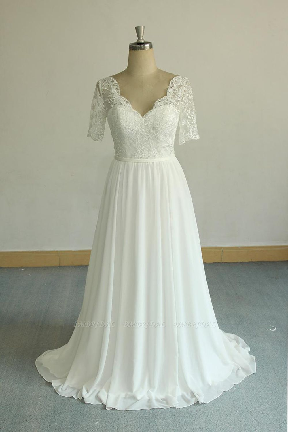 BMbridal Affordable Halfsleeves V-neck Chiffon Wedding Dresses White A-line Ruffles Bridal Gowns Online