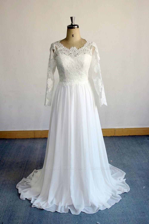 BMbridal Elegant Longsleeves Appliques Lace Wedding Dress White Chiffon A-line Bridal Gowns On Sale
