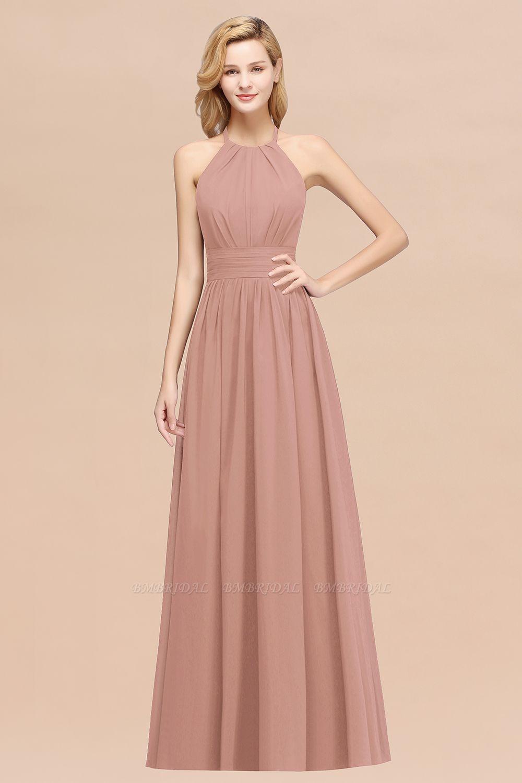 BMbridal Elegant High-Neck Halter Long Affordable Bridesmaid Dresses with Ruffles