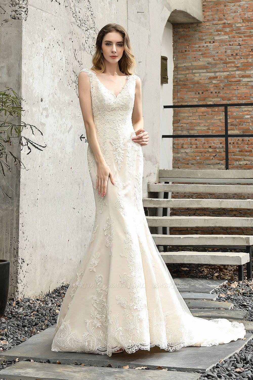 BMbridal Glamorous Mermaid Satin Lace Open Back Wedding Dress