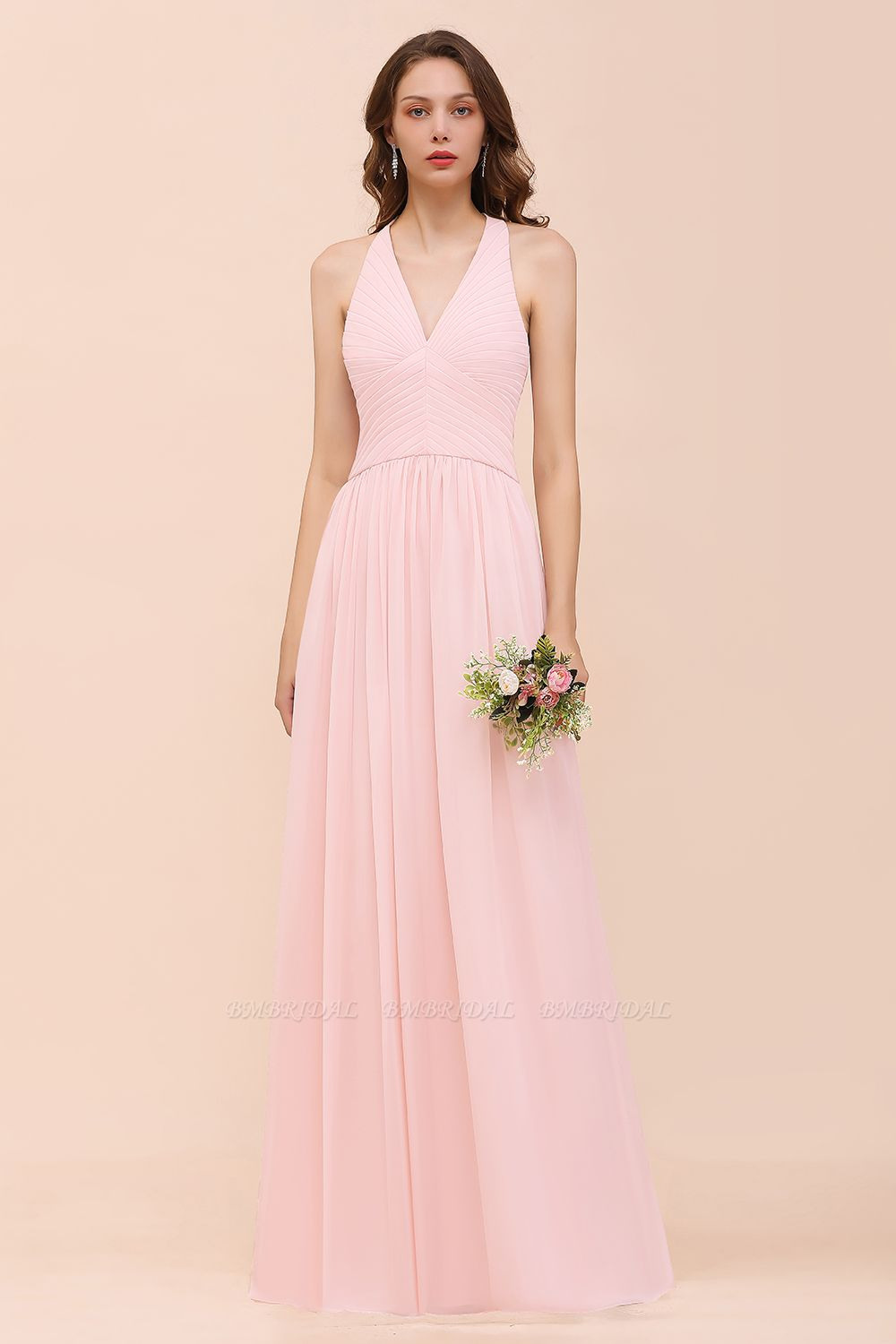 Chic V-Neck Blushing Pink Chiffon Affordable Bridesmaid Dress with Ruffle