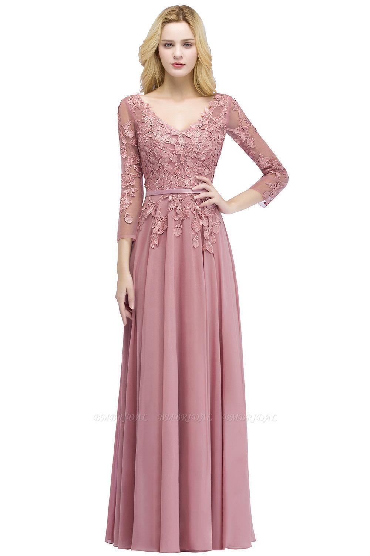 BMbridal Elegant Chiffon Lace Dusty Rose Evening Dress