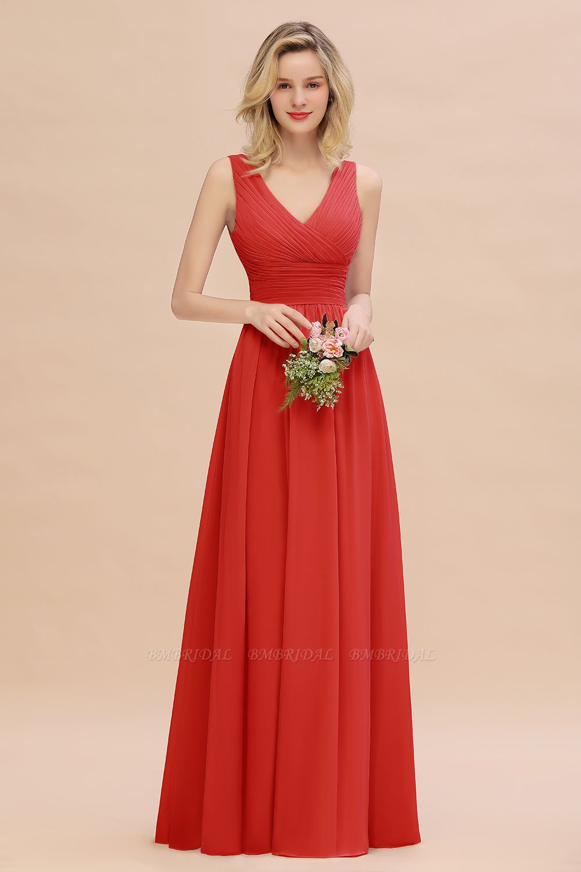 Elegant V-Neck Dusty Rose Chiffon Bridesmaid Dress with Ruffle