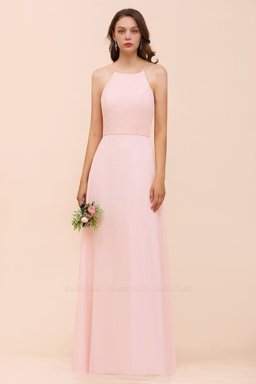 BMbridal Elegant Lace Spaghetti Straps Affordable Long Bridesmaid Dress