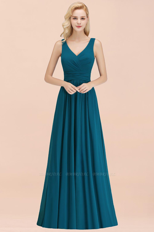 Modest Sleeveless V-Neck Long Chiffon Bridesmaid Dress Online with Ruffle