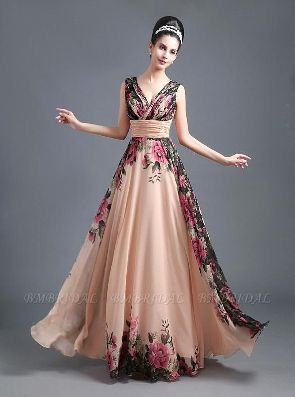 BMbridal A-Line Chiffon Printed Ruffles Evening Dress