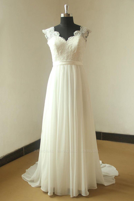 BMbridal Glamorous White Straps Appliques Wedding Dress Sleeveless V-neck Chiffon Bridal Gowns On Sale