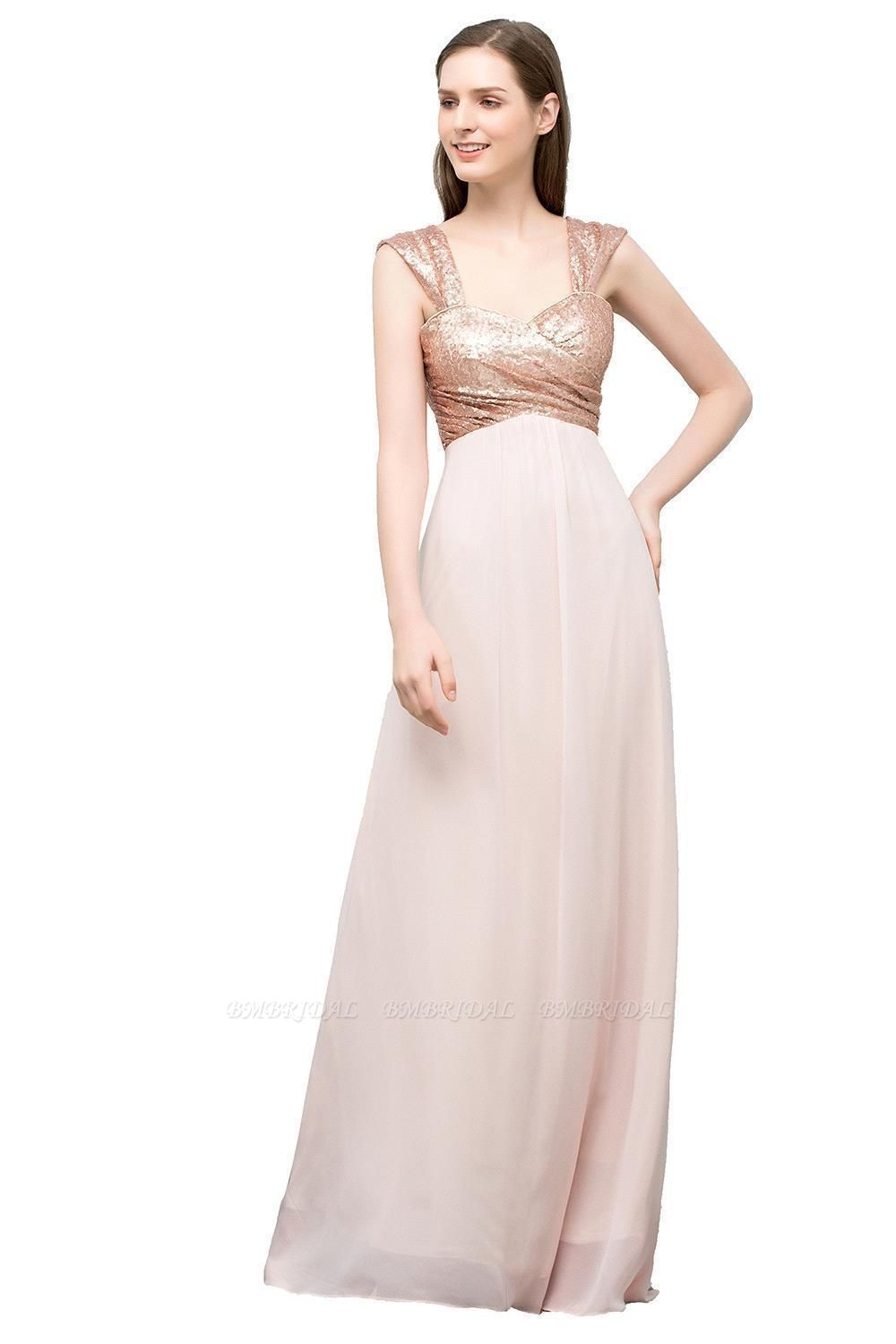 BMbridal A-line Sweetheart Off-shoulder Spaghetti Long Sequins Chiffon Prom Dress