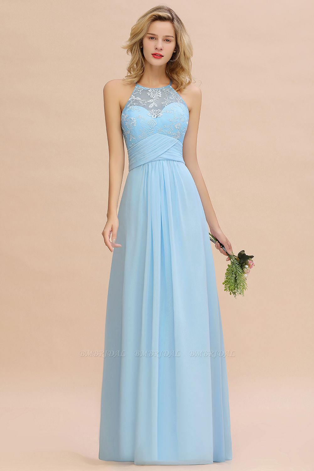 BMbridal Elegant Jewel Ruffle Affordable Chiffon Bridesmaid Dress with Appliques