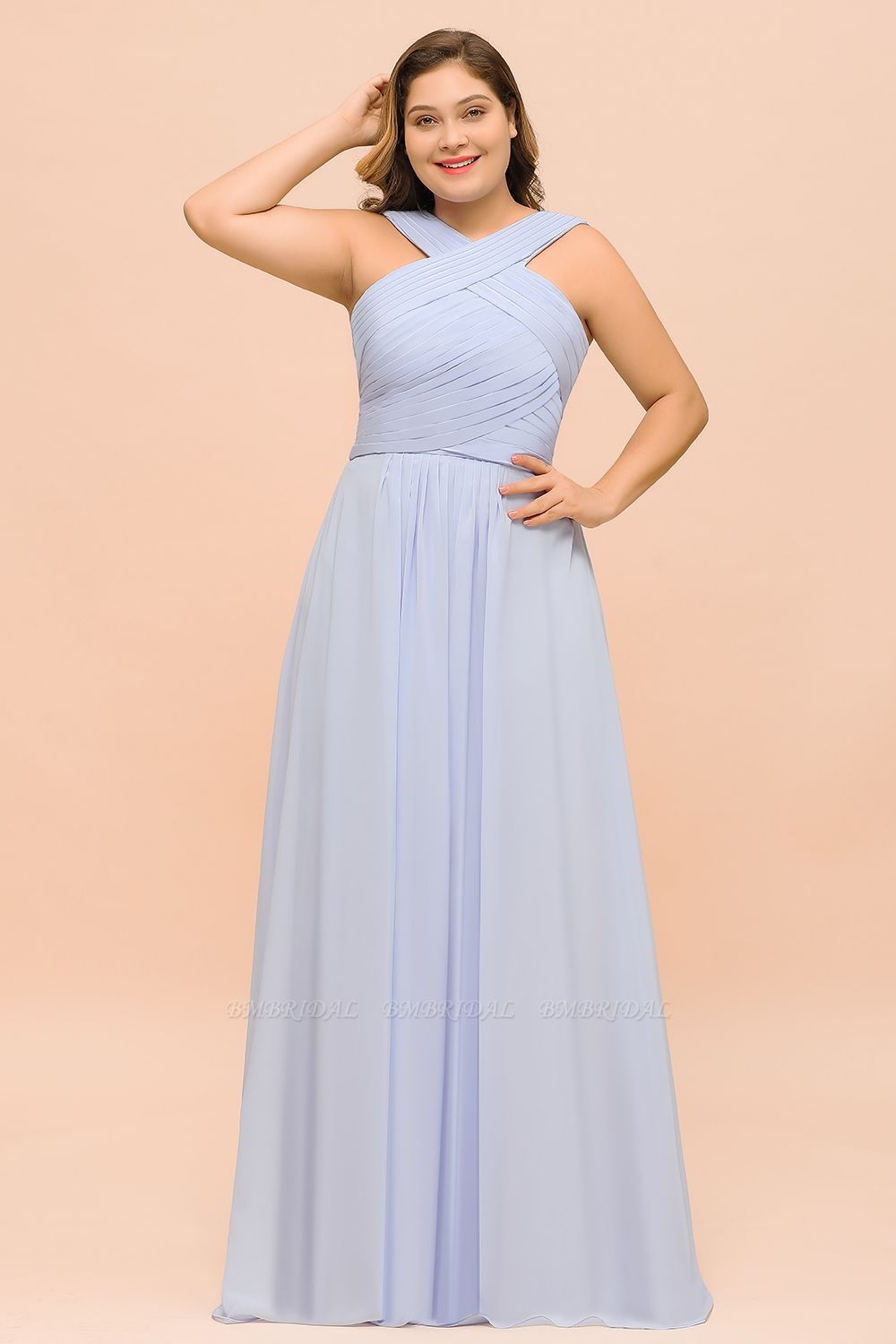 Plus Size Affordable Lavender Chiffon Bridesmaid Dresses with Ruffle