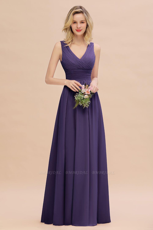 BMbridal Elegant V-Neck Dusty Rose Chiffon Bridesmaid Dress with Ruffle