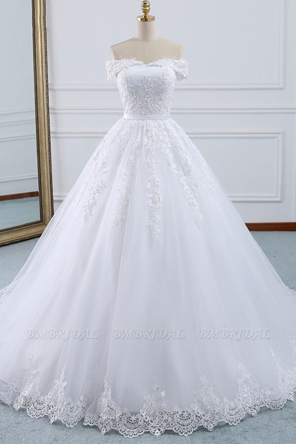 BMbridal Unique Off the Shoulder Appliques Lace Wedding Dress Ball Gown White A-line Bridal Gowns On Sale