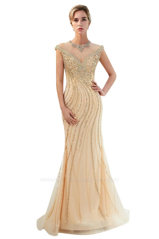 BMbridal Elegant Mermaid Jewel Long Gold Prom Dresses Sleeveless Evening Gowns with Rhinestones