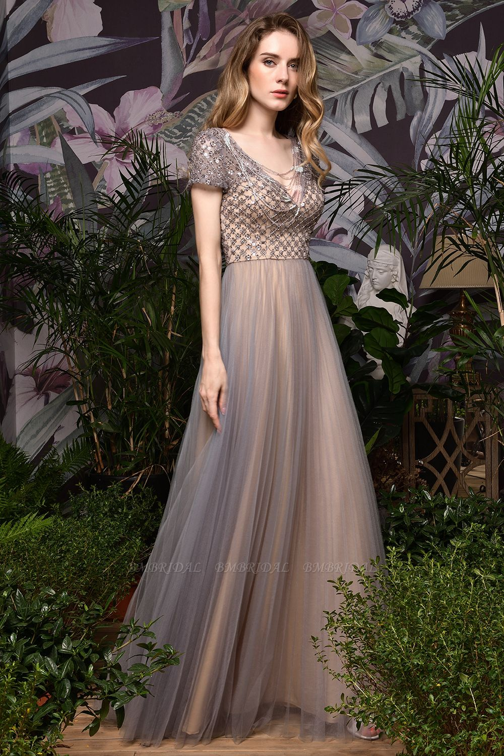 BMbridal Glamorous Short Sleeve Tulle Prom Dress Long Evening Party Gowns Online