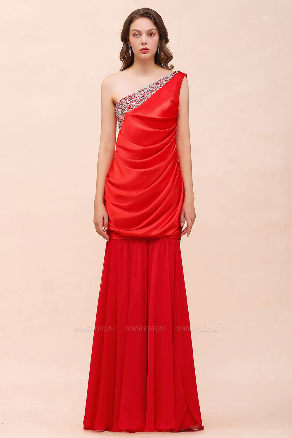 BMbridal Chic One Shoulder Beading Ruffle Red Bridesmaid Dress with Detachable Skirt
