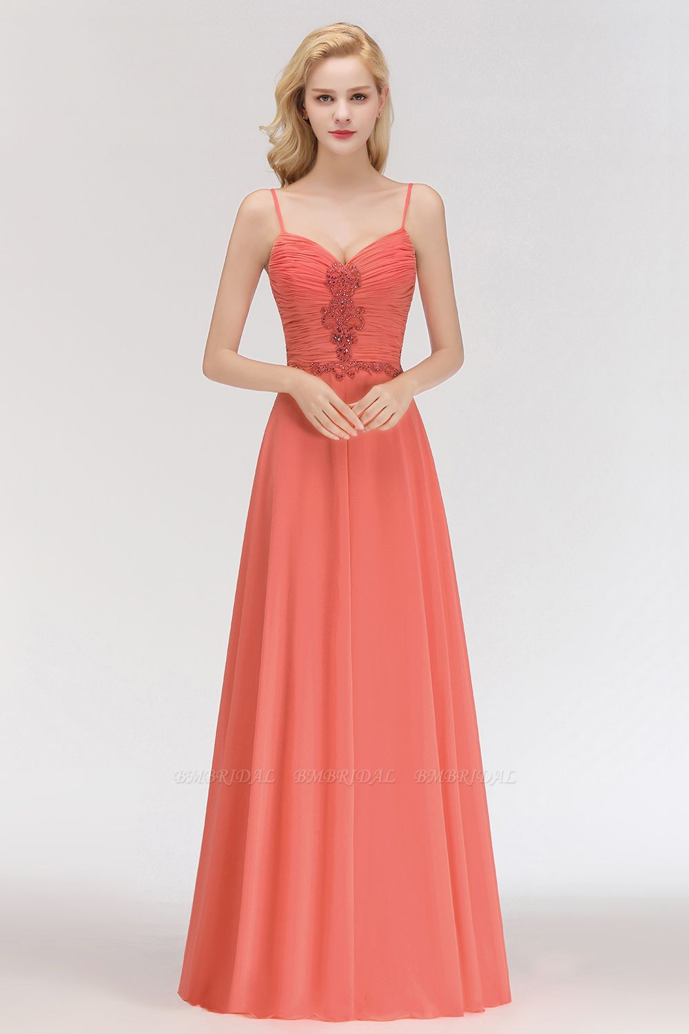 BMbridal Modest Spaghetti-Straps Ruffle Affordable Bridesmaid Dress with Appliques
