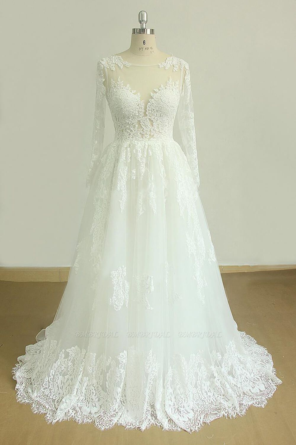 Gorgeous Longsleeves White Appliques Wedding Dress Tulle Lace Jewel Bridal Gown On Sale