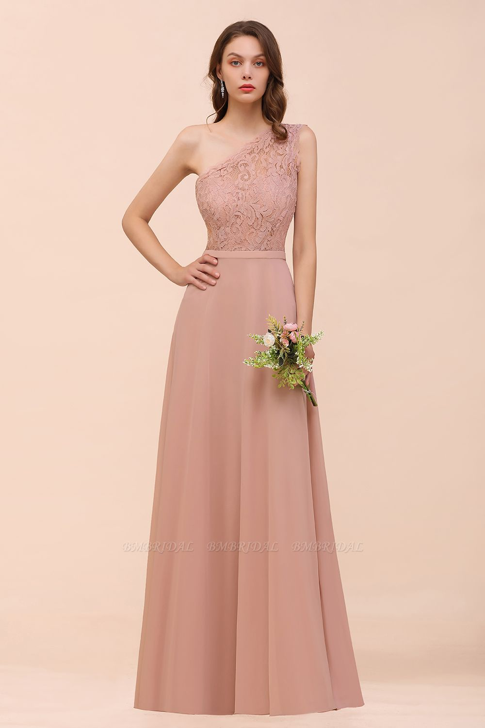 BMbridal New Arrival Dusty Rose One Shoulder Lace Long Bridesmaid Dress