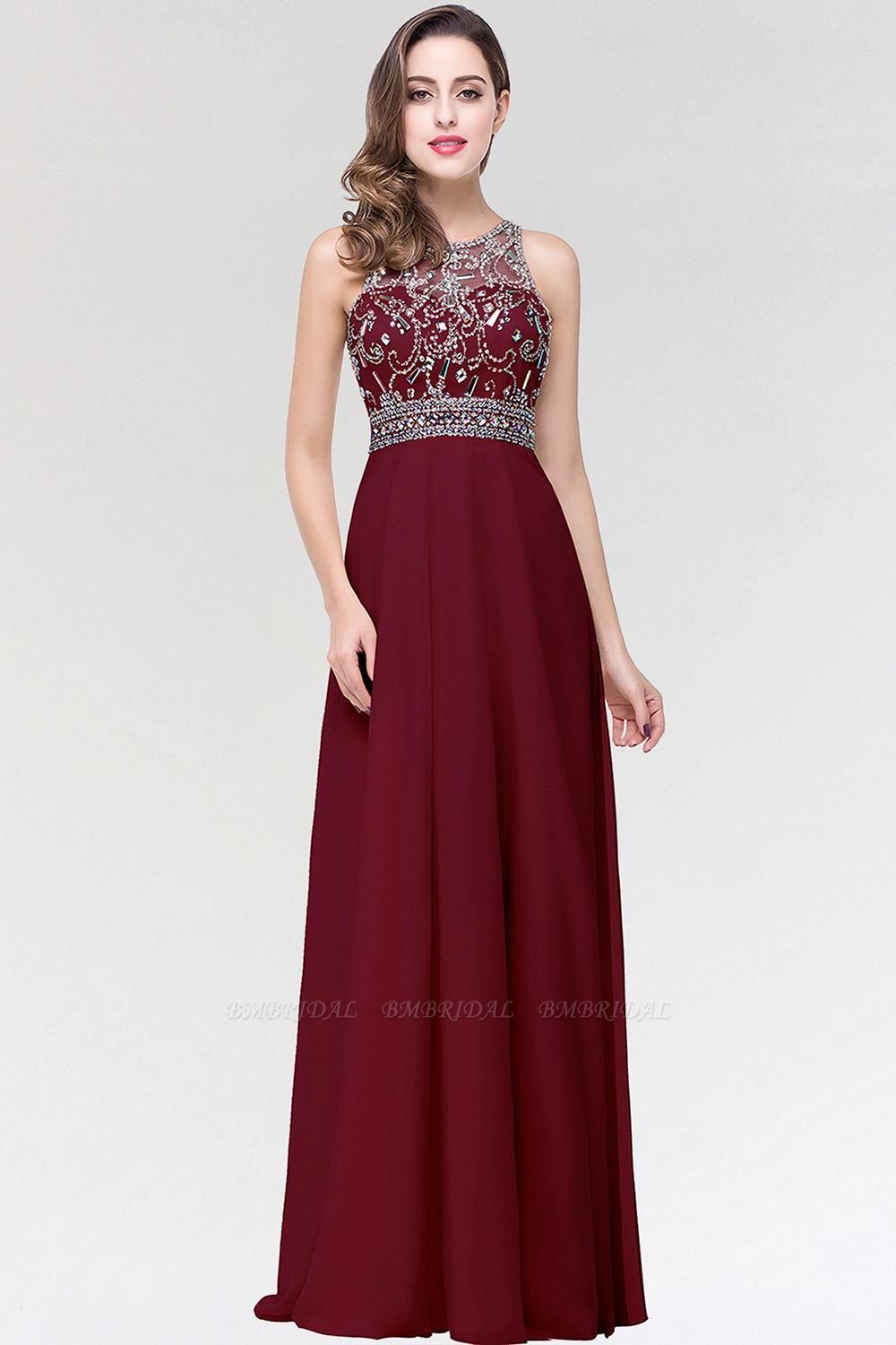 BMbridal A-line Jewel Chiffon Prom Dress with Beading