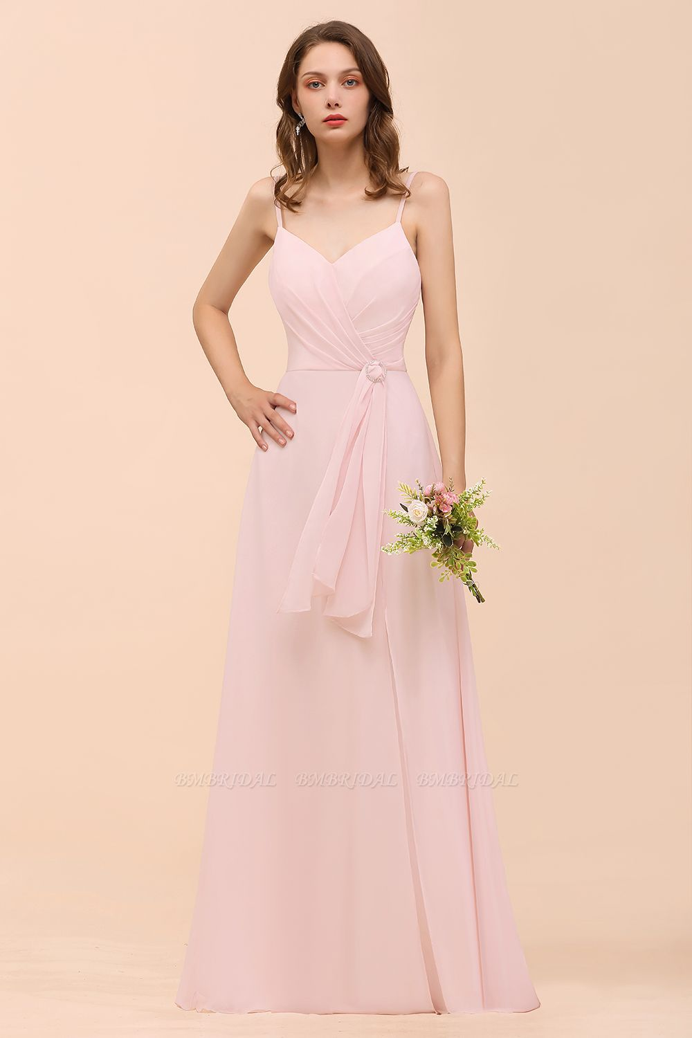 BMbridal Affordable Blushing Pink Spaghetti Straps Ruffle Bridesmaid Dress