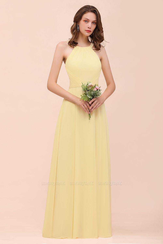 Affordable Daffodil Chiffon Sleeveless Long Bridesmaid Dress with Ruffle