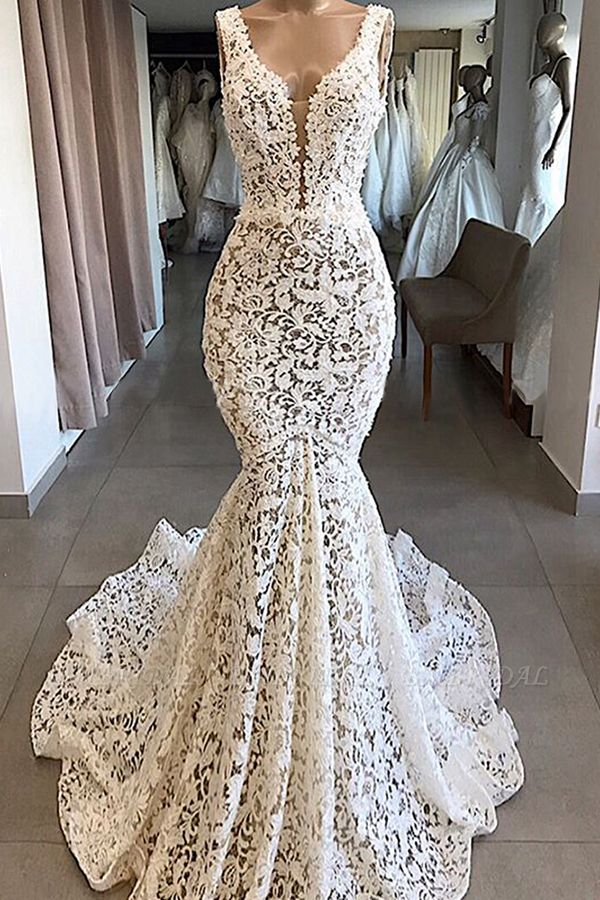 BMbridal Unique White Mermaid Lace Wedding Dresses Straps Sleeveless Bridal Gowns With Appliques Online