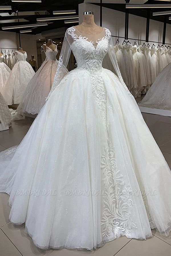 Gorgeous Jewel Longsleeves Lace Wedding Dresses A-line Tulle Ruffles Bridal Gowns With Appliques Online