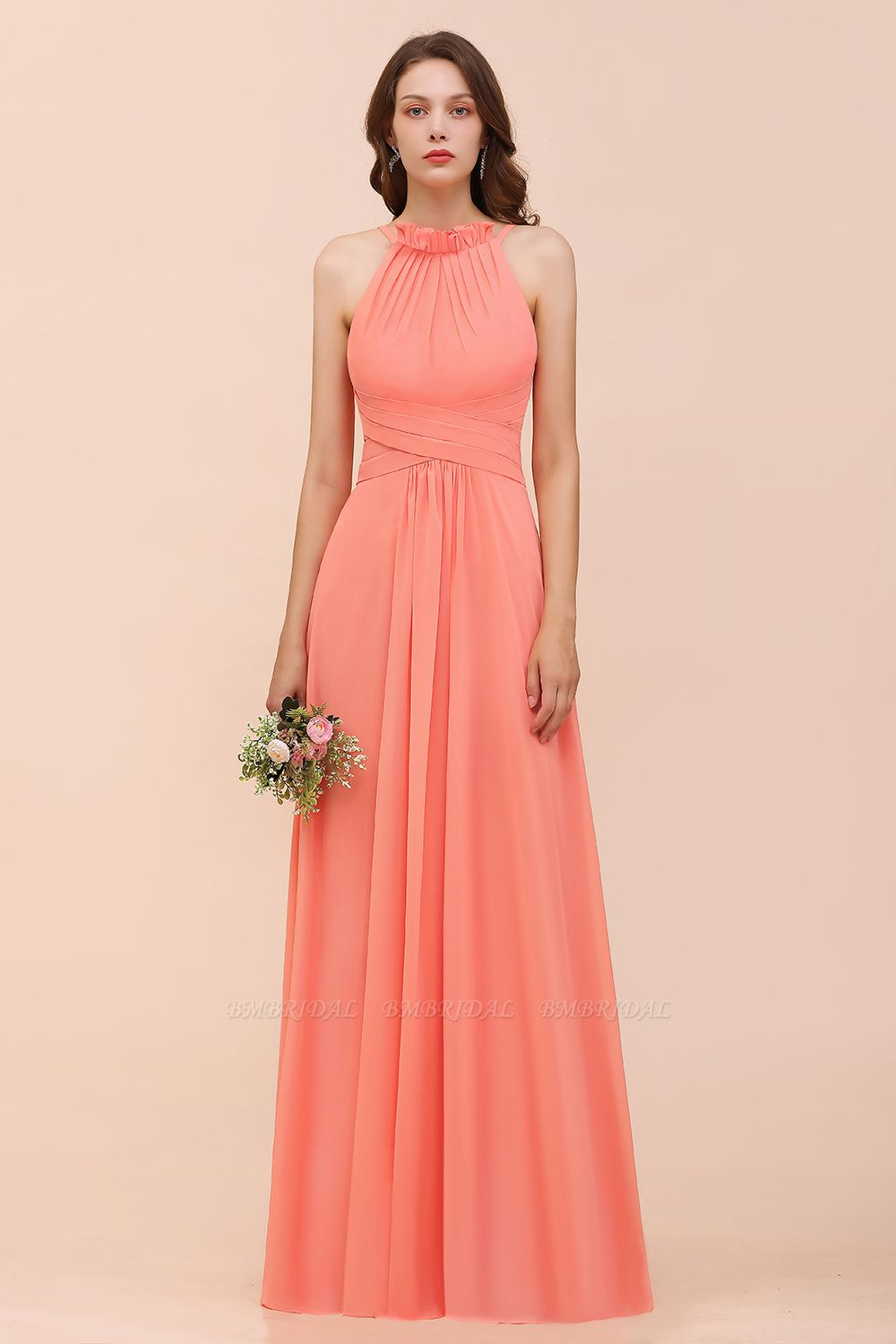 BMbridal Modest Halter Ruffle Coral Chiffon Affordable Bridesmaid Dress Online