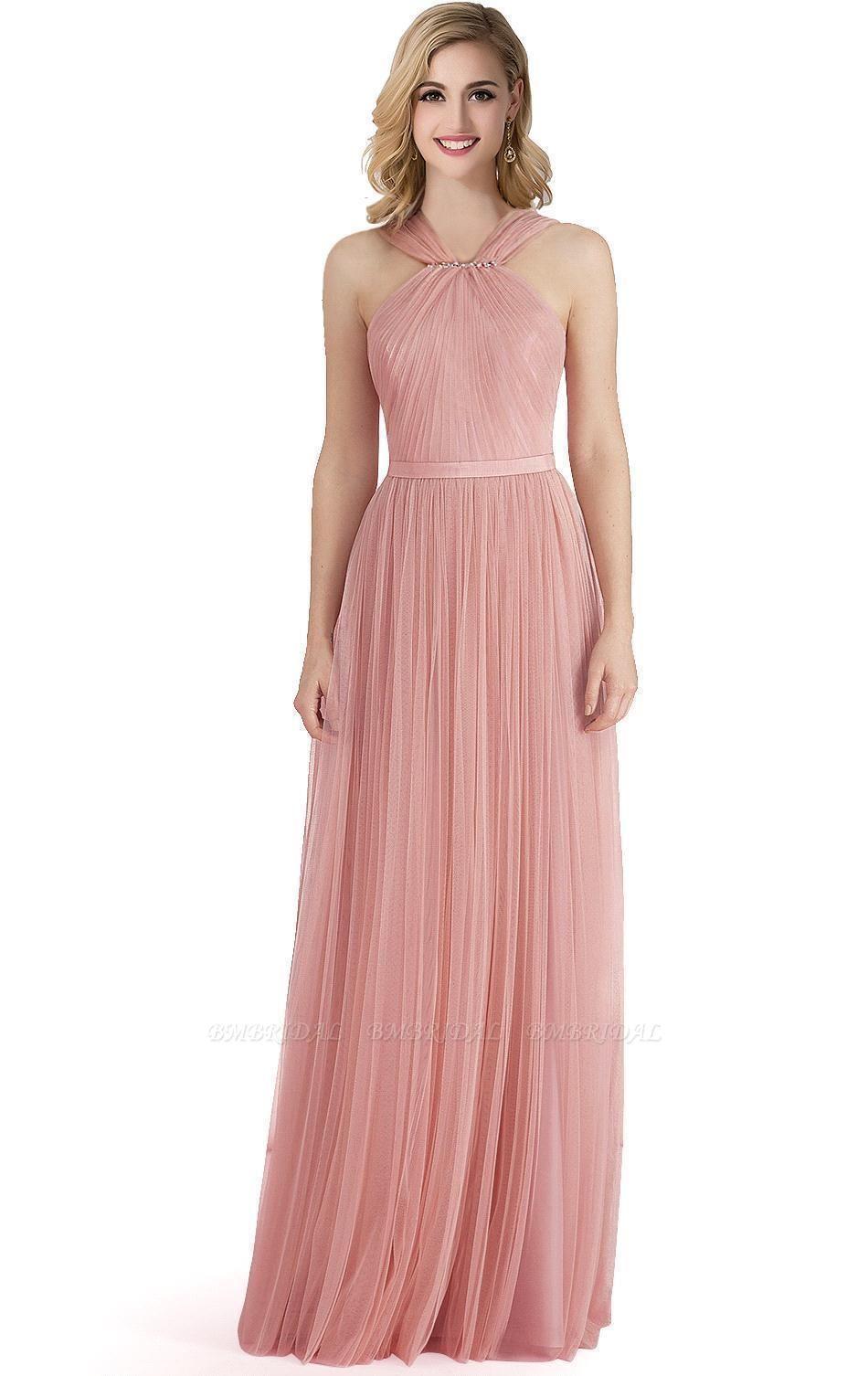BMbridal Sheath Pink Tulle Ribbon Sash Simple Bridesmaid Dress