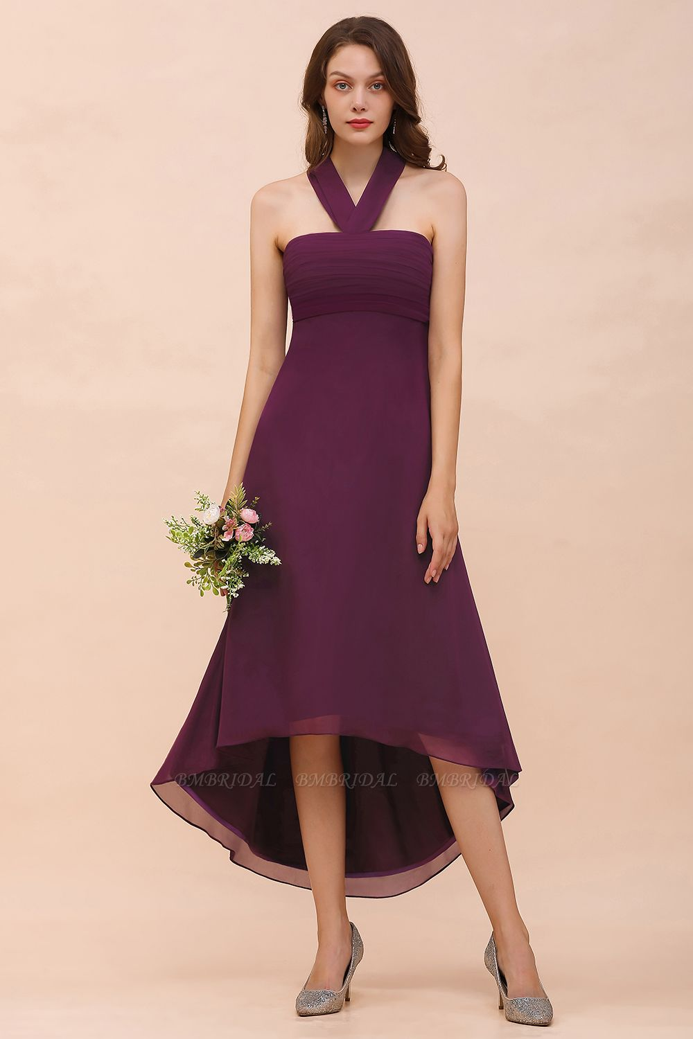 Stylish Hi-Lo Halter Grape Chiffon Affordable Bridesmaid Dresses with Ruffle