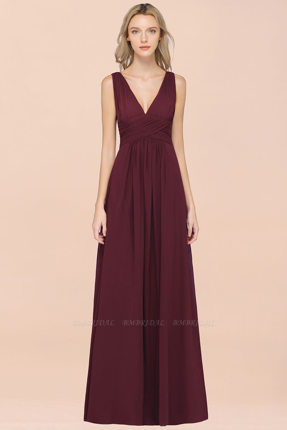 BMbridal Elegant V-Neck Burgundy Chiffon Affordable Bridesmaid Dress with Ruffle