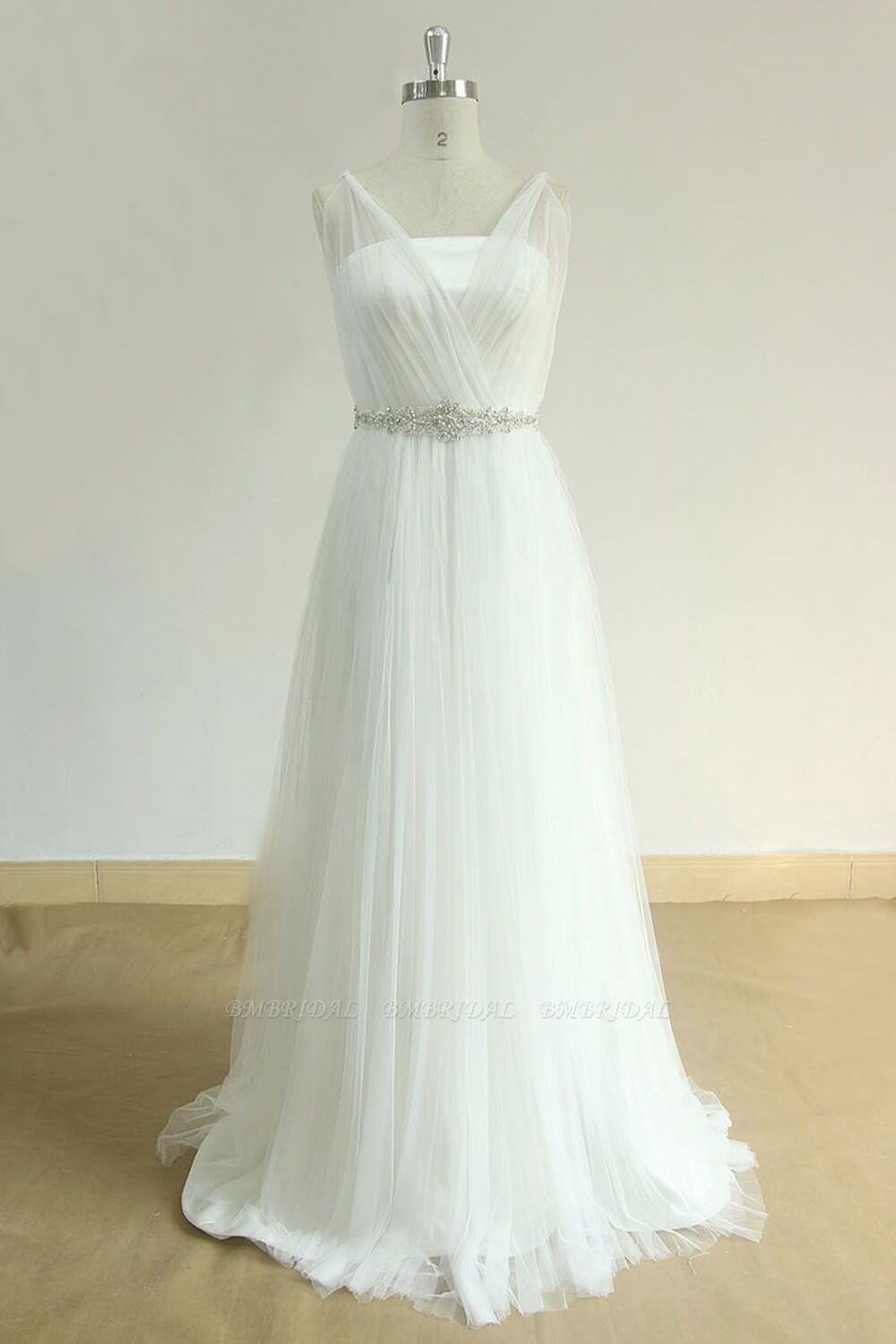 BMbridal Elegant Straps Tulle White Wedding Dress A-line Ruffles Sleeveless Bridal Gowns On Sale