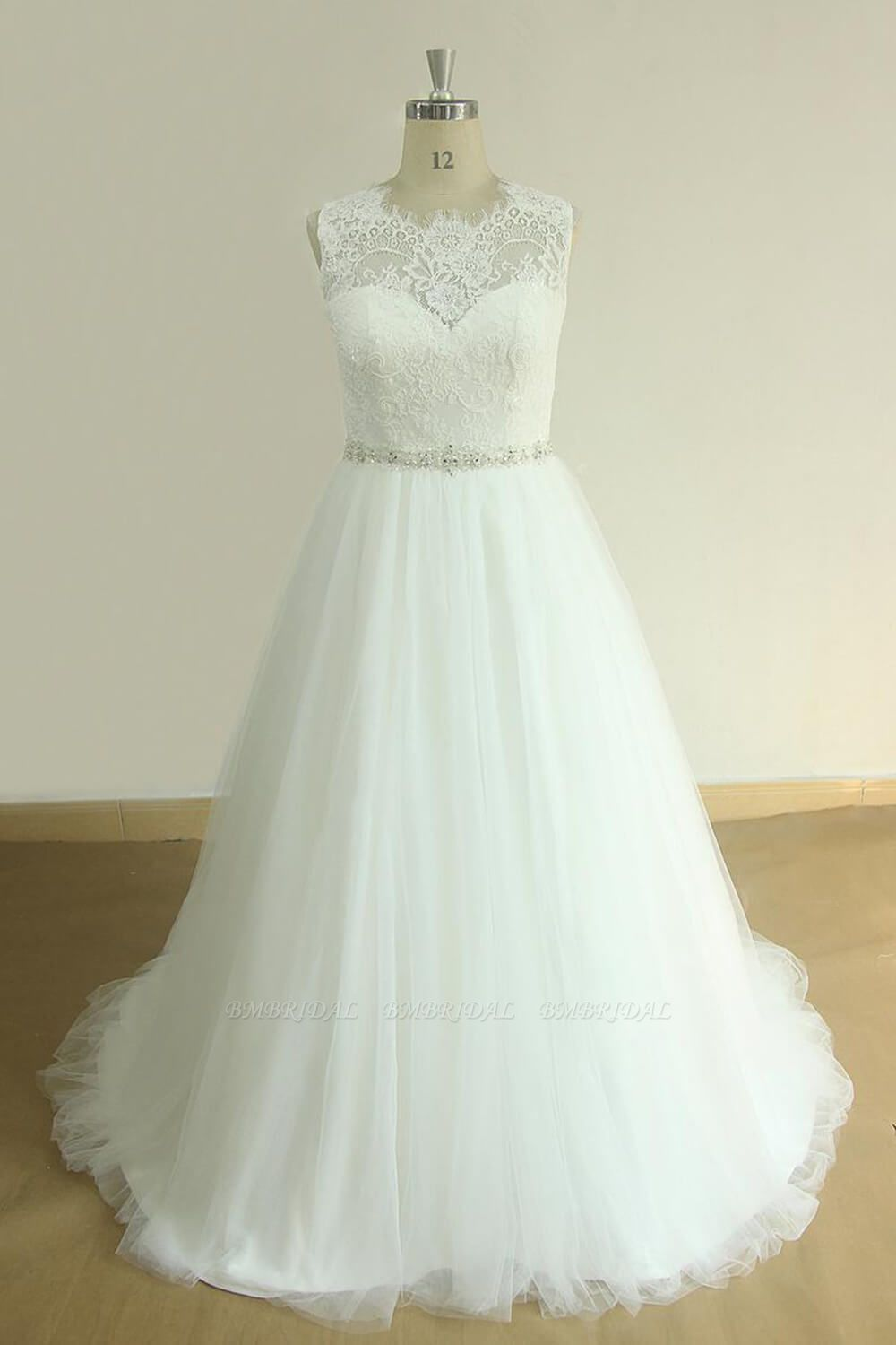 BMbridal Unique Jewel Sleeveless Lace Wedding Dresses White A-line Tulle Bridal Gowns On Sale