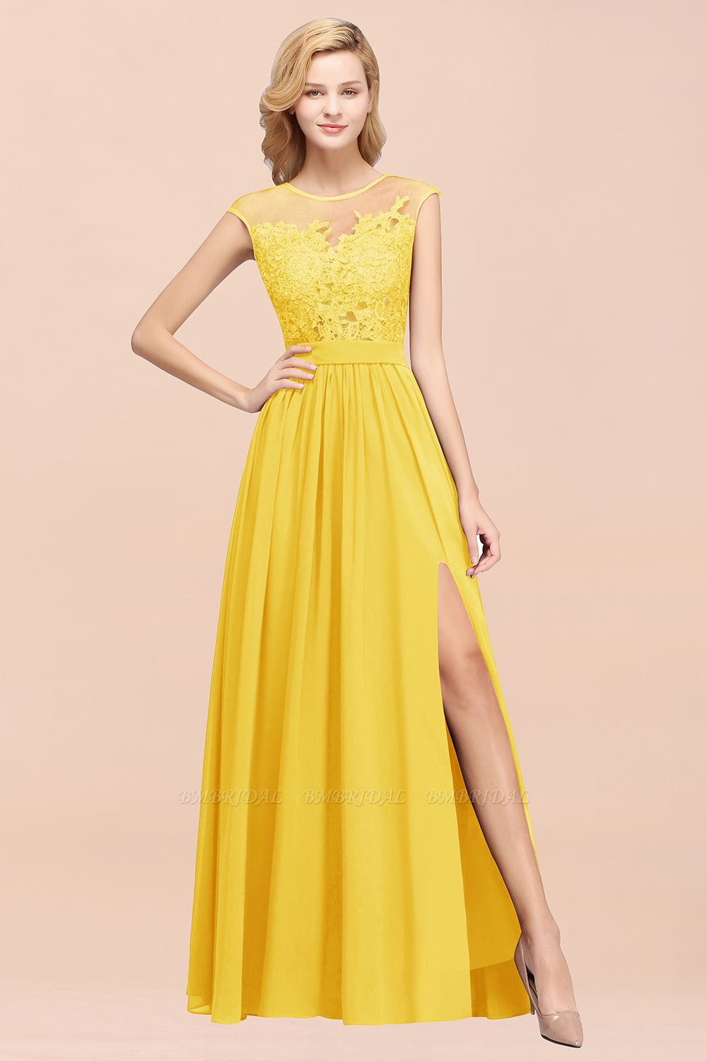 Affordable Scoop Lace Appliques Yellow Bridesmaid Dresses with Slit