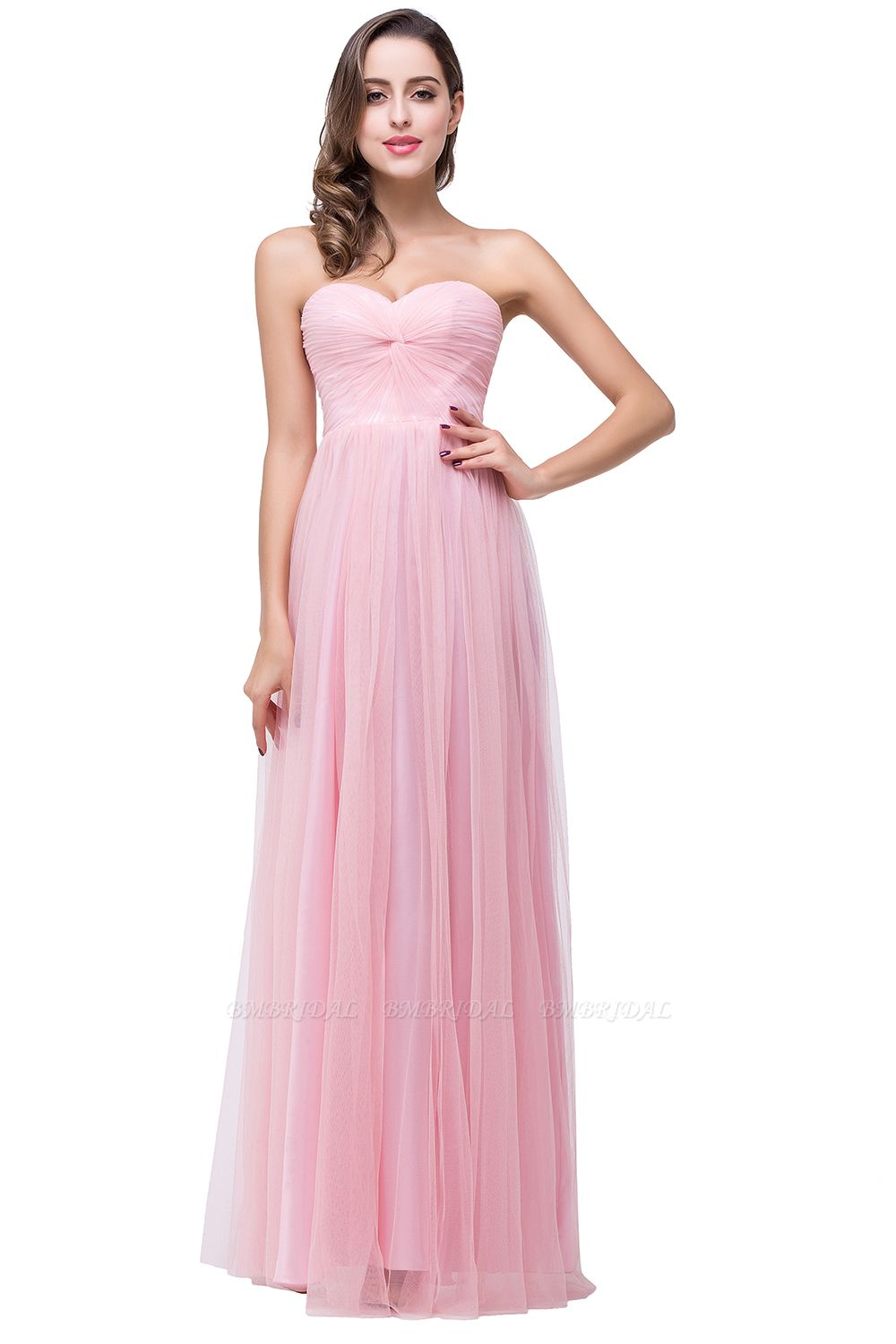 BMbridal Affordbale A-line Tulle Sweetheart Ruffle Pink Bridesmaid Dress Online In Stock