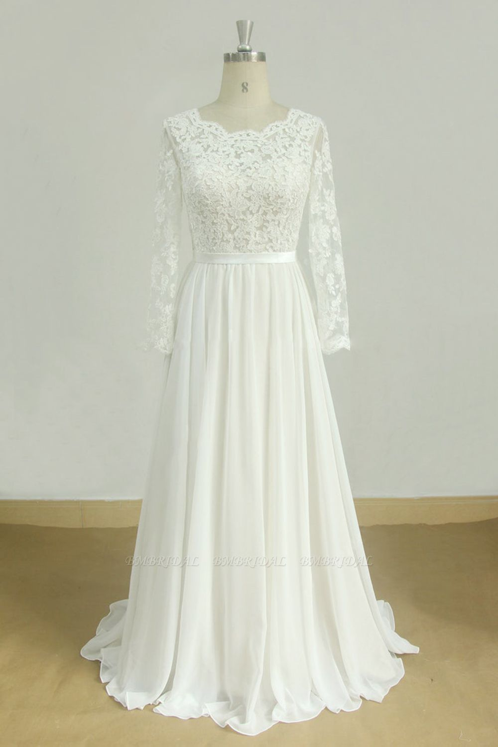 Glamorous A-line White Chiffon Wedding Dress Longsleeves Jewel Bridal Gowns On Sale