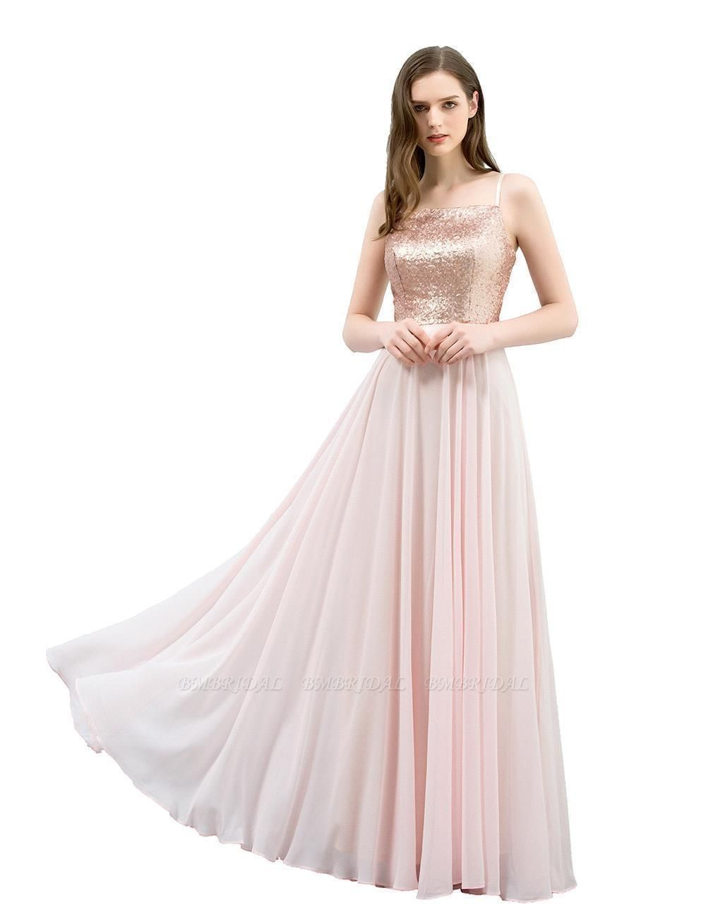 BMbridal A-line Floor Length Spaghetti Sequined Top Chiffon Prom Dress