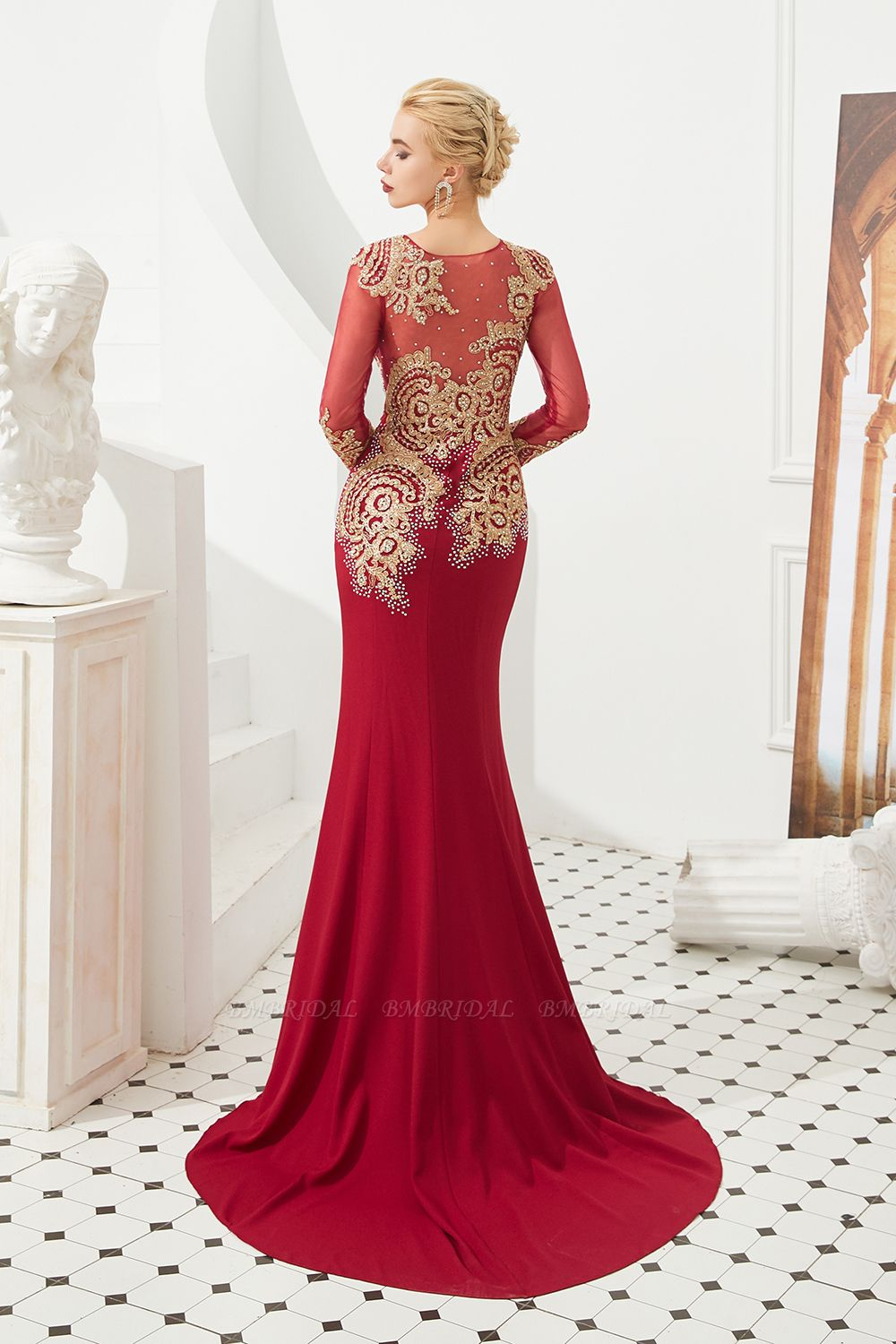 BMbridal Burgundy Long Sleeve Mermaid Prom Dress With Gold Appliques Online
