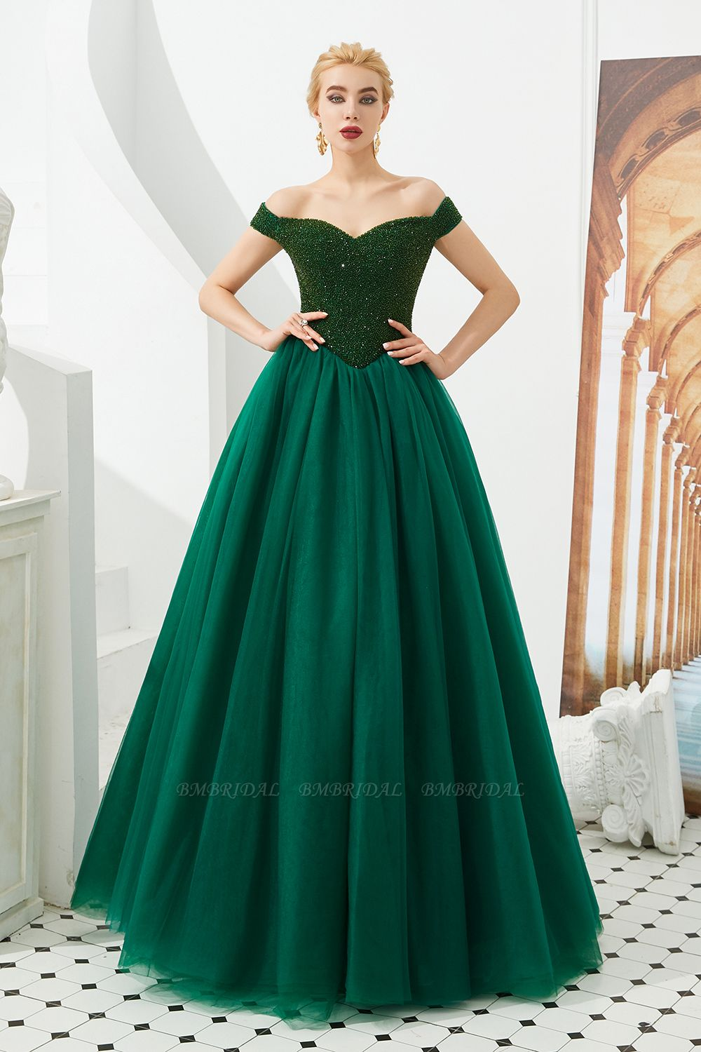 BMbridal Princess Off-the-Shoulder Prom Dress Beadings Sweetheart Ball Gown Evening Gowns
