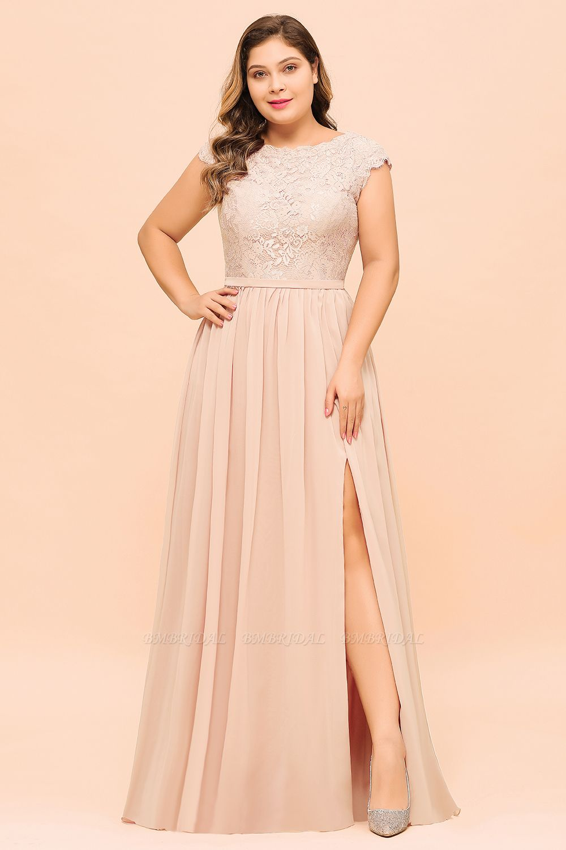 Elegant Jewel Chiffon Lace Affordable Bridesmaid Dresses with Slit