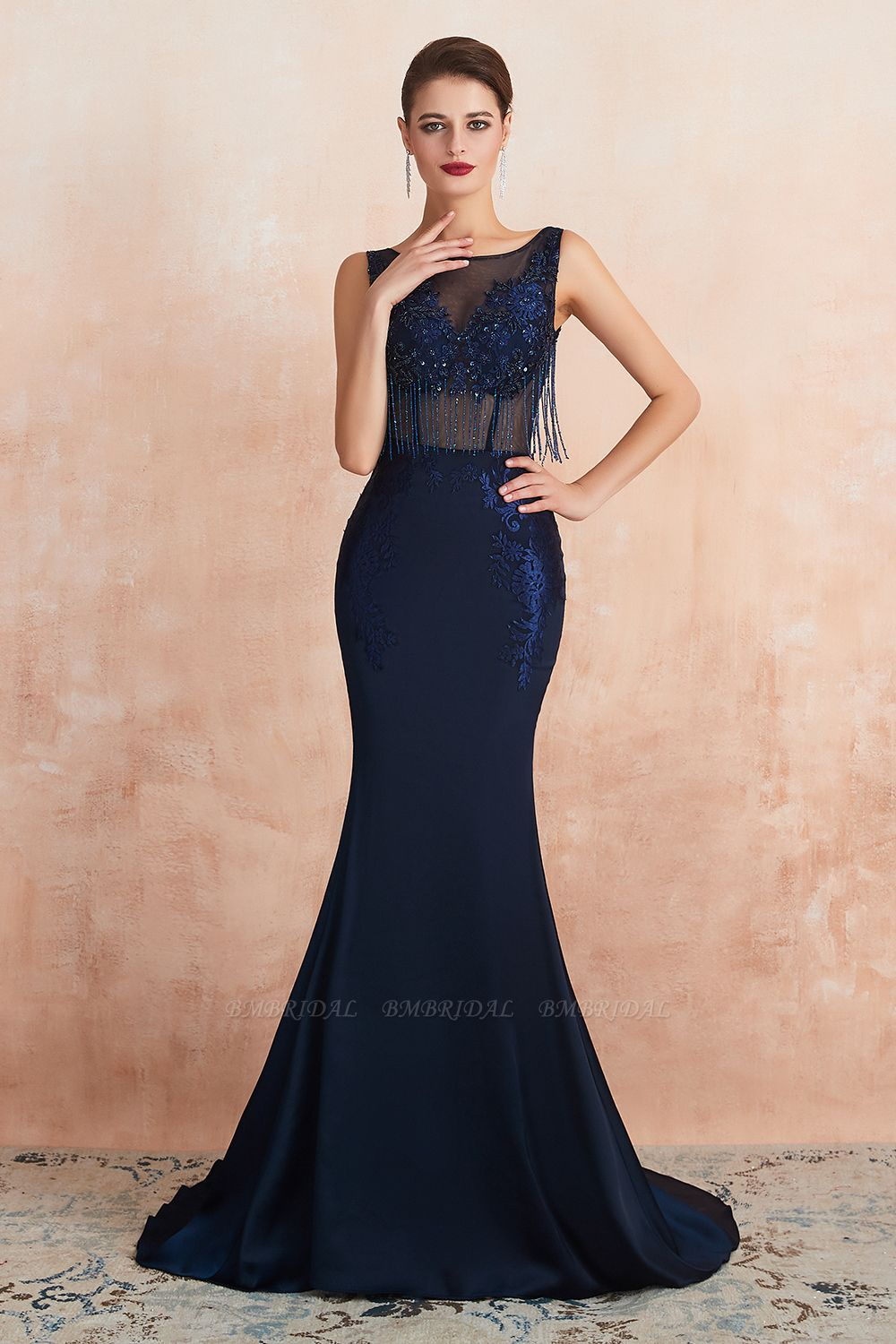 Gorgeous Navy Mermaid Prom Dress With Appliques Tassels Online