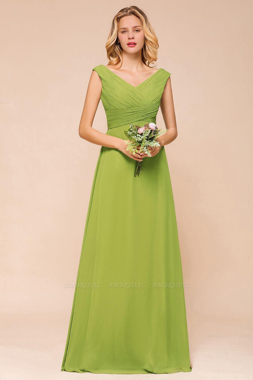 BMbridal Affordable V-Neck Sleeveless Green Chiffon Bridesmaid Dress Online