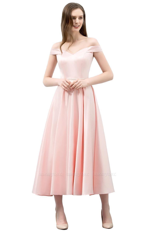 BMbridal A-line Off-shoulder Tea Length Pink Prom Dress with Sash