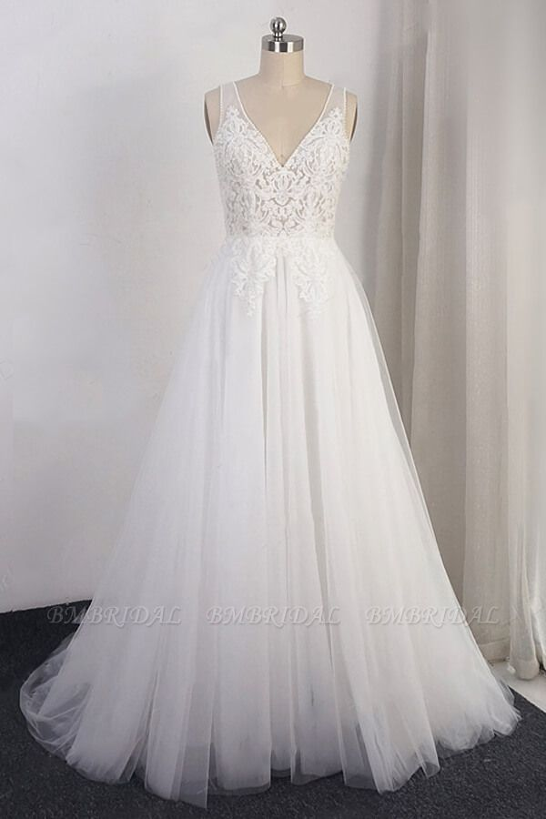 BMbridal Elegant Appliques Straps Tulle Wedding Dress A-line White V-neck Bridal Gowns On Sale