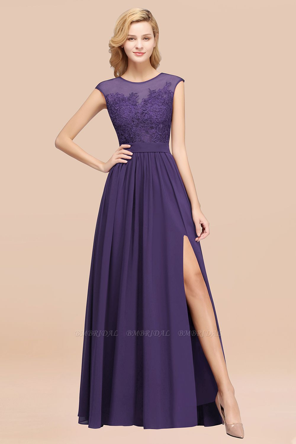 Cheap Scoop Lace Appliques Yellow Bridesmaid Dresses with Slit