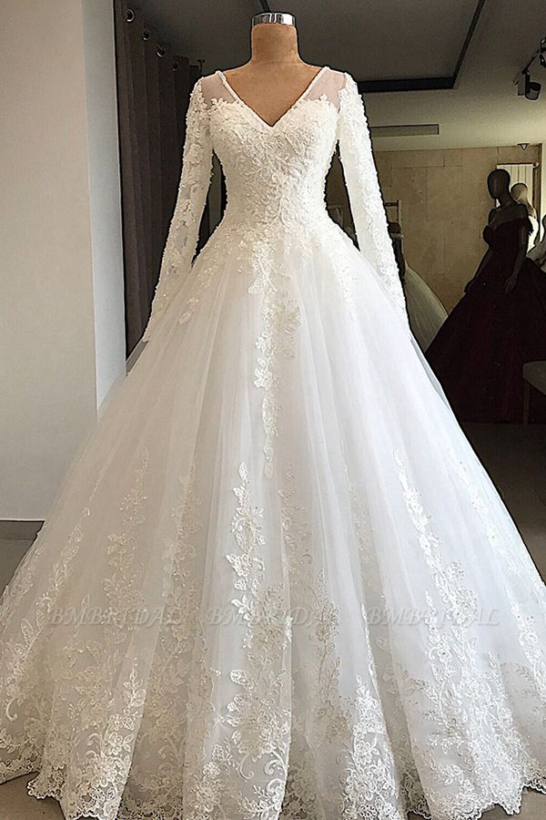 BMbridal Modest V-neck Longsleeves White Wedding Dresses With Appliques A-line Tulle Ruffles Bridal Gowns On Sale