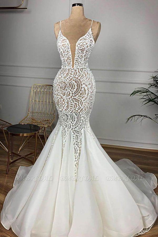 BMbridal Affordable Mermaid Spaghetti Straps Lace Wedding Dresses Ivory Sleeveless Bridal Gowns With Appliques Online