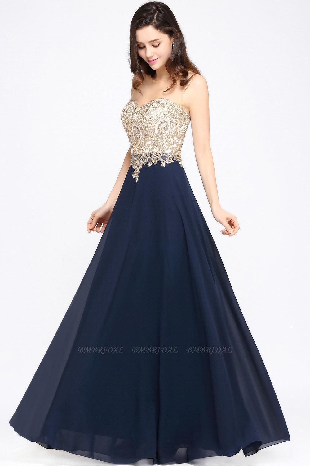 BMbridal Sheer Tulle A-line Chiffon Beads Lace Appliques Sleeveless Long Evening Dress