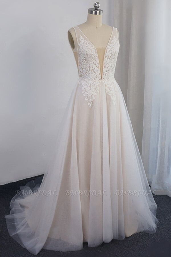 Glamorous V-neck Straps Sleeveless Wedding Dress Appliques Tulle A-line Bridal Gowns On Sale